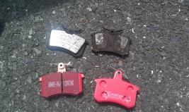 Old shitty pads, vs. nice shiny new ceramic pads. Yayy